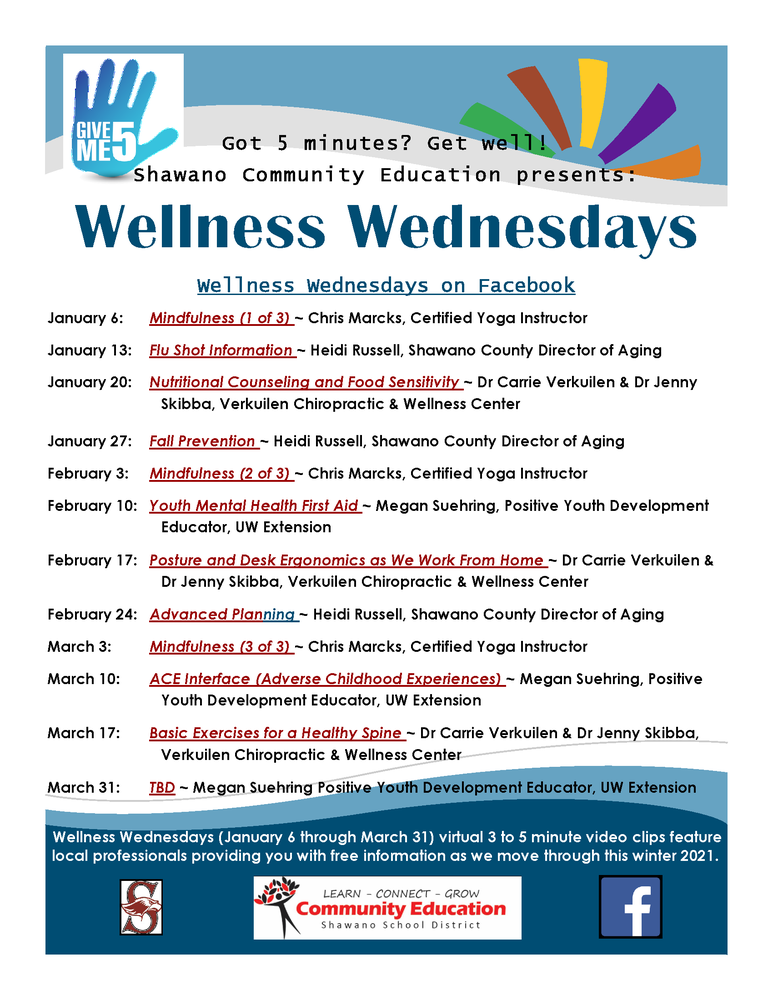 Join Community Education for Wellness Wednesdays on Facebook