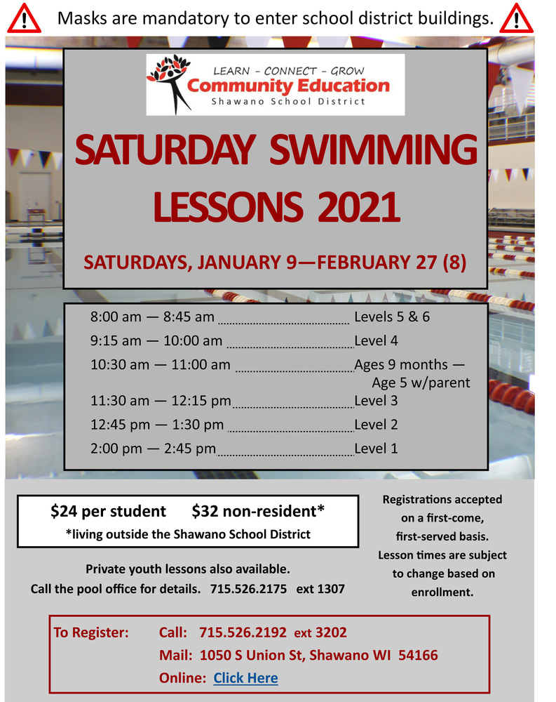 Youth Swimming Lessons January 9th